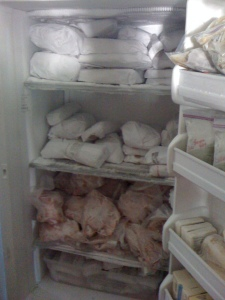 Freezer full of pork and chicken